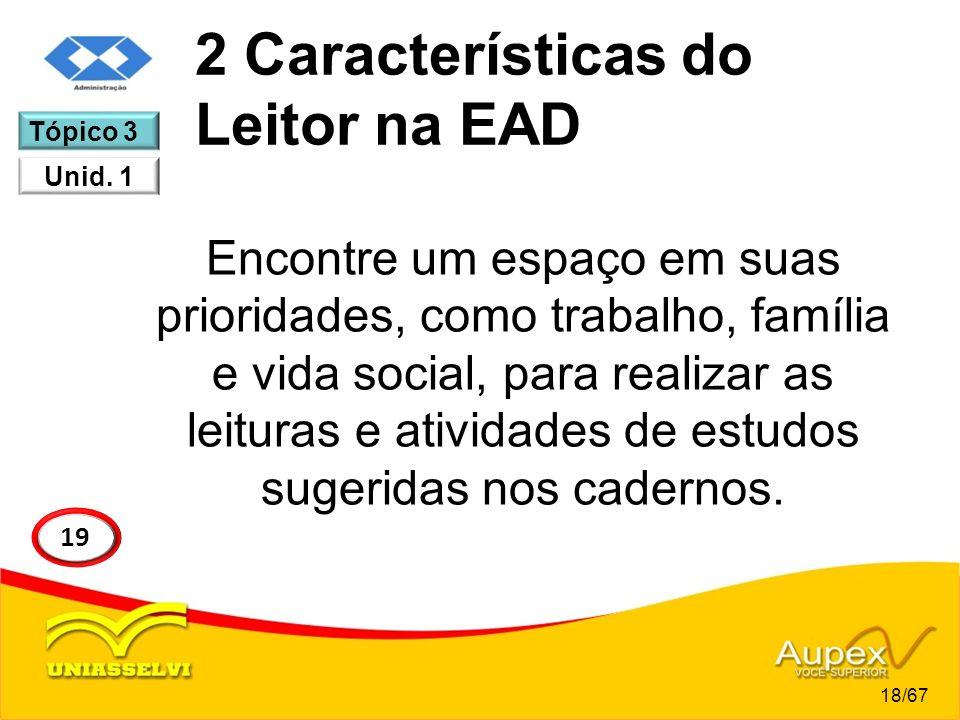 2 Características do Leitor na EAD Encontre um espaço em suas prioridades, como trabalho, família e vida social, para realizar as leituras e atividade