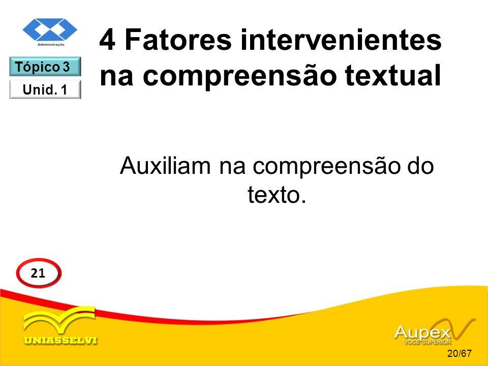 4 Fatores intervenientes na compreensão textual Auxiliam na compreensão do texto. 20/67 21 Tópico 3 Unid. 1