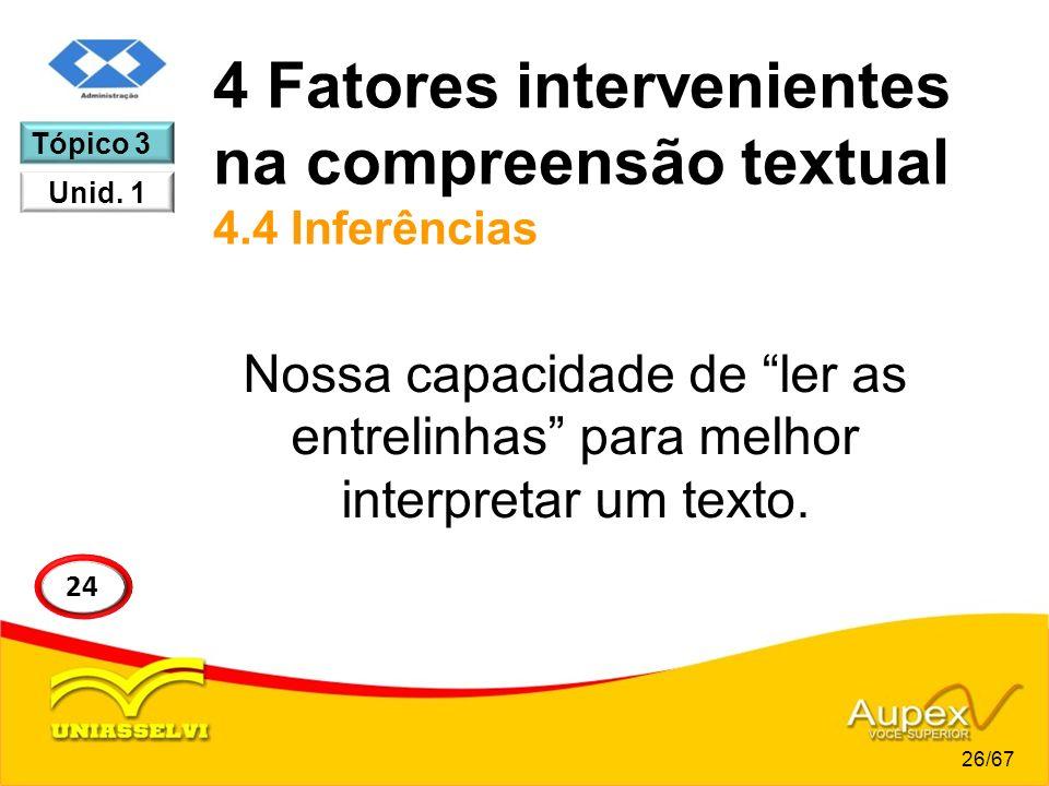 4 Fatores intervenientes na compreensão textual 4.4 Inferências Nossa capacidade de ler as entrelinhas para melhor interpretar um texto. 24 Tópico 3 U