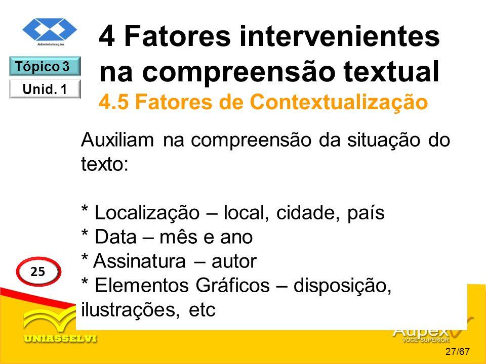 4 Fatores intervenientes na compreensão textual 4.5 Fatores de Contextualização Auxiliam na compreensão da situação do texto: * Localização – local, c
