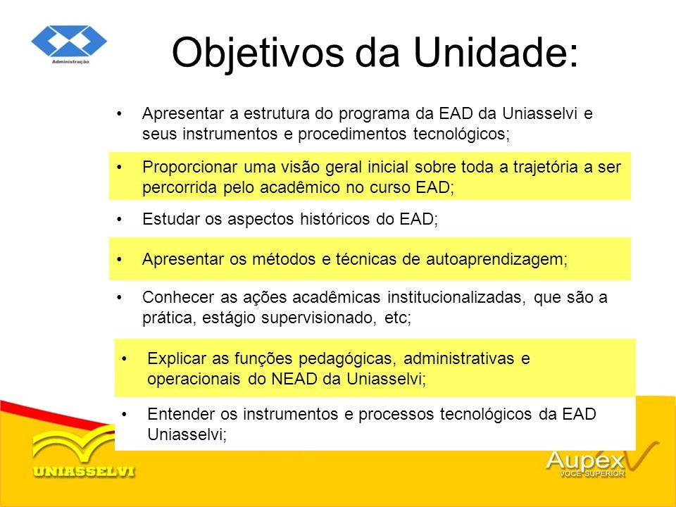 Objetivos da Unidade: Apresentar a estrutura do programa da EAD da Uniasselvi e seus instrumentos e procedimentos tecnológicos; Proporcionar uma visão