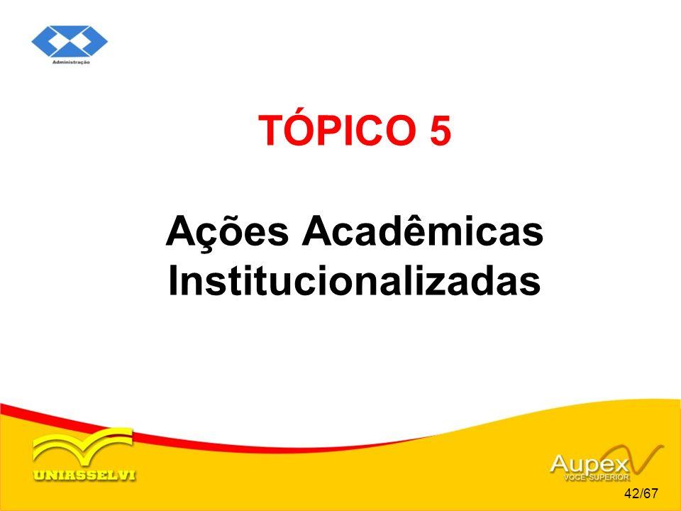 TÓPICO 5 Ações Acadêmicas Institucionalizadas 42/67