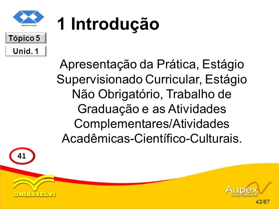 1 Introdução Apresentação da Prática, Estágio Supervisionado Curricular, Estágio Não Obrigatório, Trabalho de Graduação e as Atividades Complementares