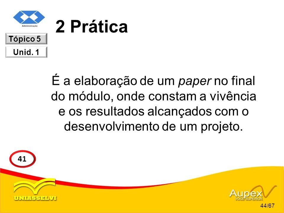 2 Prática É a elaboração de um paper no final do módulo, onde constam a vivência e os resultados alcançados com o desenvolvimento de um projeto. Tópic