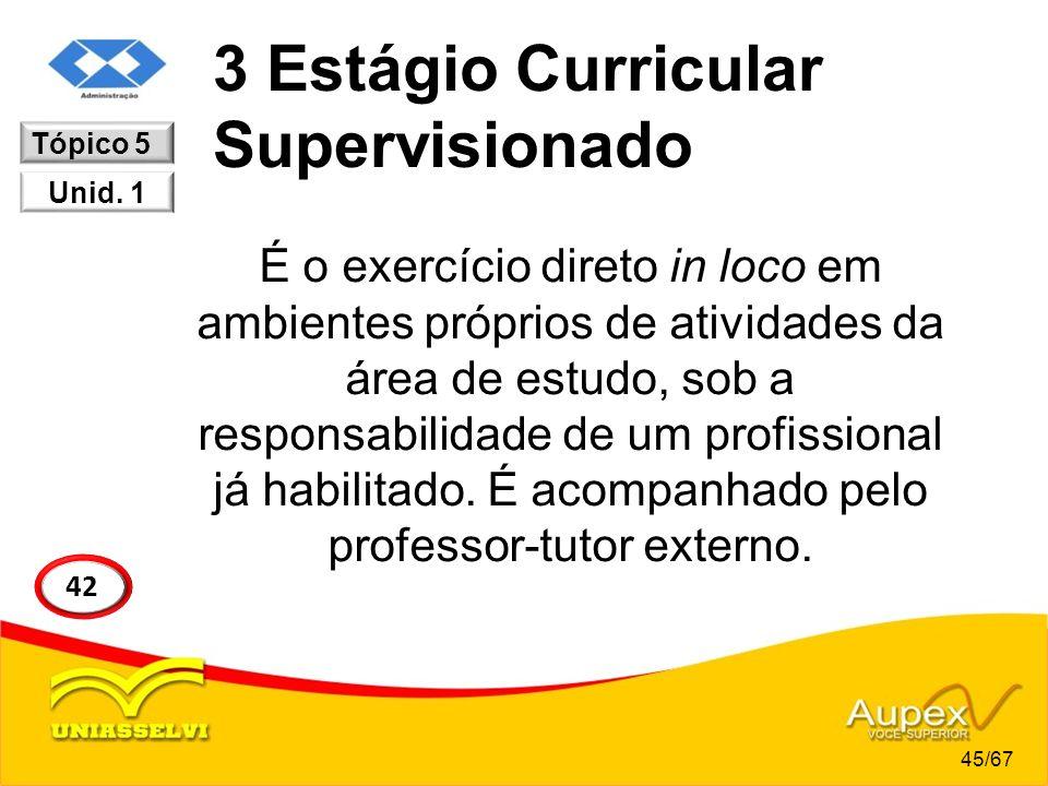 3 Estágio Curricular Supervisionado É o exercício direto in loco em ambientes próprios de atividades da área de estudo, sob a responsabilidade de um p