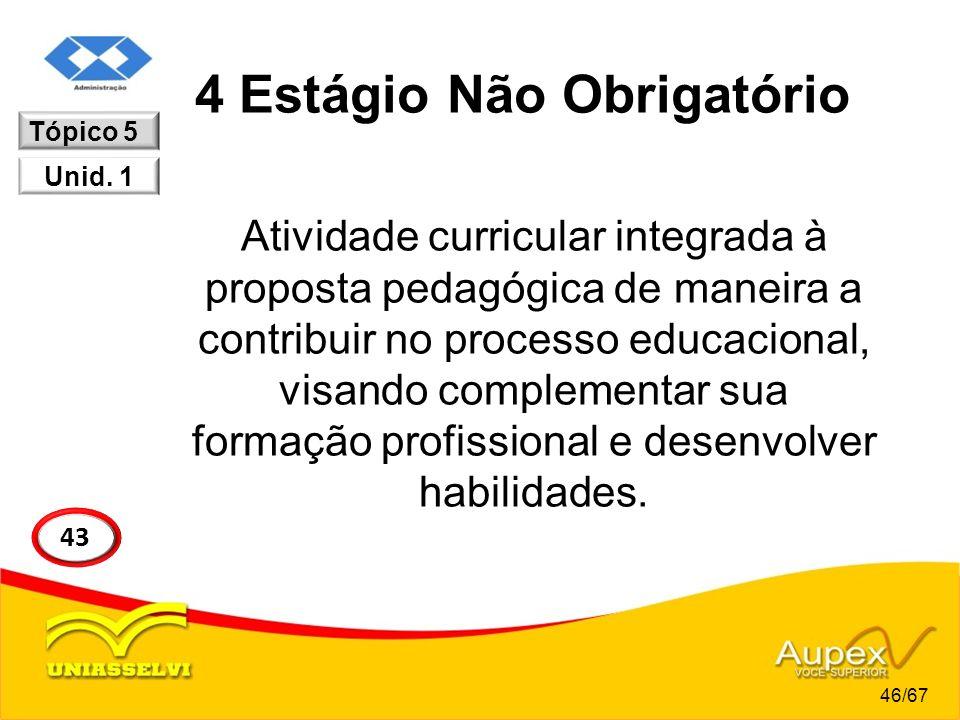 4 Estágio Não Obrigatório Atividade curricular integrada à proposta pedagógica de maneira a contribuir no processo educacional, visando complementar s