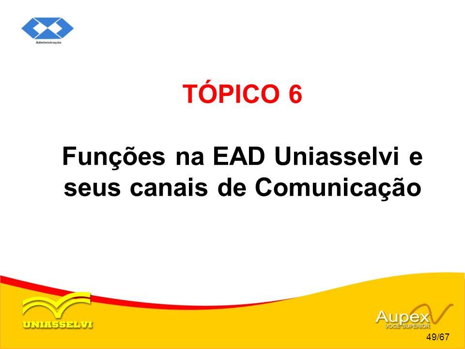 TÓPICO 6 Funções na EAD Uniasselvi e seus canais de Comunicação 49/67