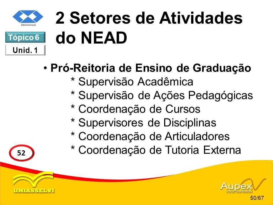 2 Setores de Atividades do NEAD Pró-Reitoria de Ensino de Graduação * Supervisão Acadêmica * Supervisão de Ações Pedagógicas * Coordenação de Cursos *