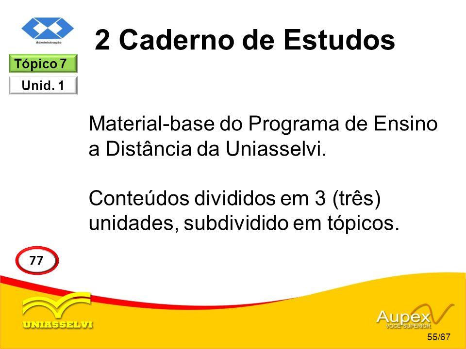 2 Caderno de Estudos Material-base do Programa de Ensino a Distância da Uniasselvi. Conteúdos divididos em 3 (três) unidades, subdividido em tópicos.