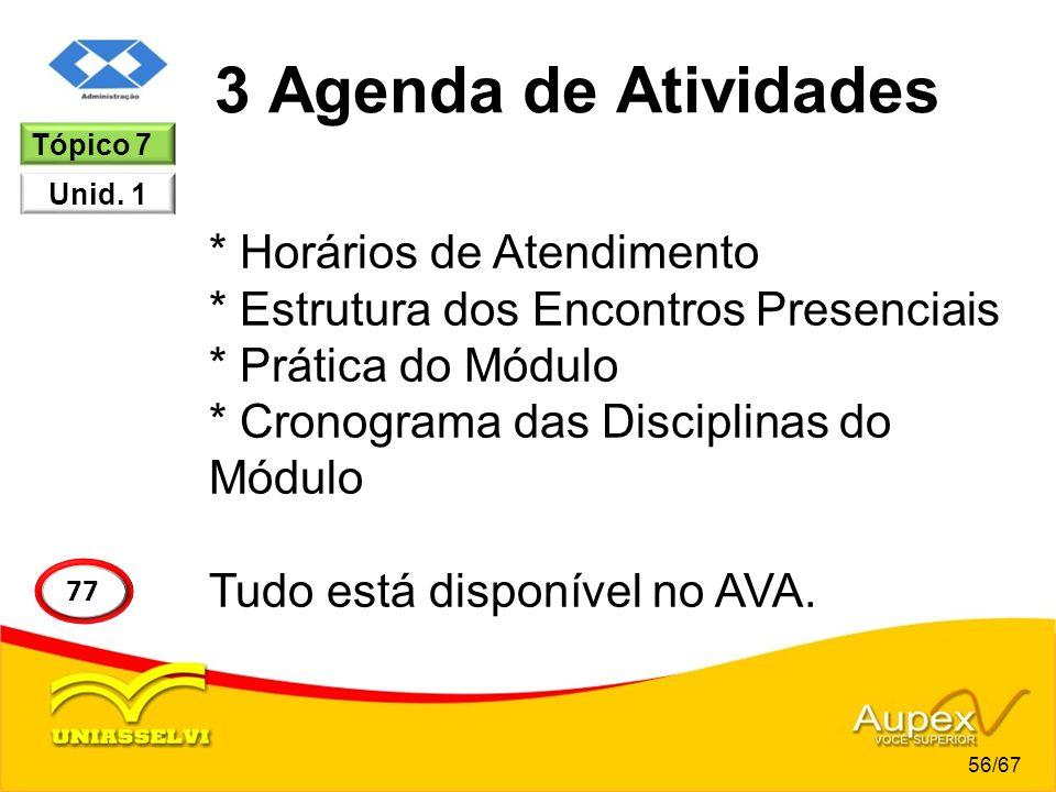 3 Agenda de Atividades * Horários de Atendimento * Estrutura dos Encontros Presenciais * Prática do Módulo * Cronograma das Disciplinas do Módulo Tudo