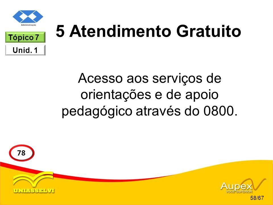 5 Atendimento Gratuito Acesso aos serviços de orientações e de apoio pedagógico através do 0800. Tópico 7 Unid. 1 58/67 78