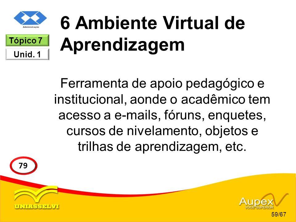 6 Ambiente Virtual de Aprendizagem Ferramenta de apoio pedagógico e institucional, aonde o acadêmico tem acesso a e-mails, fóruns, enquetes, cursos de