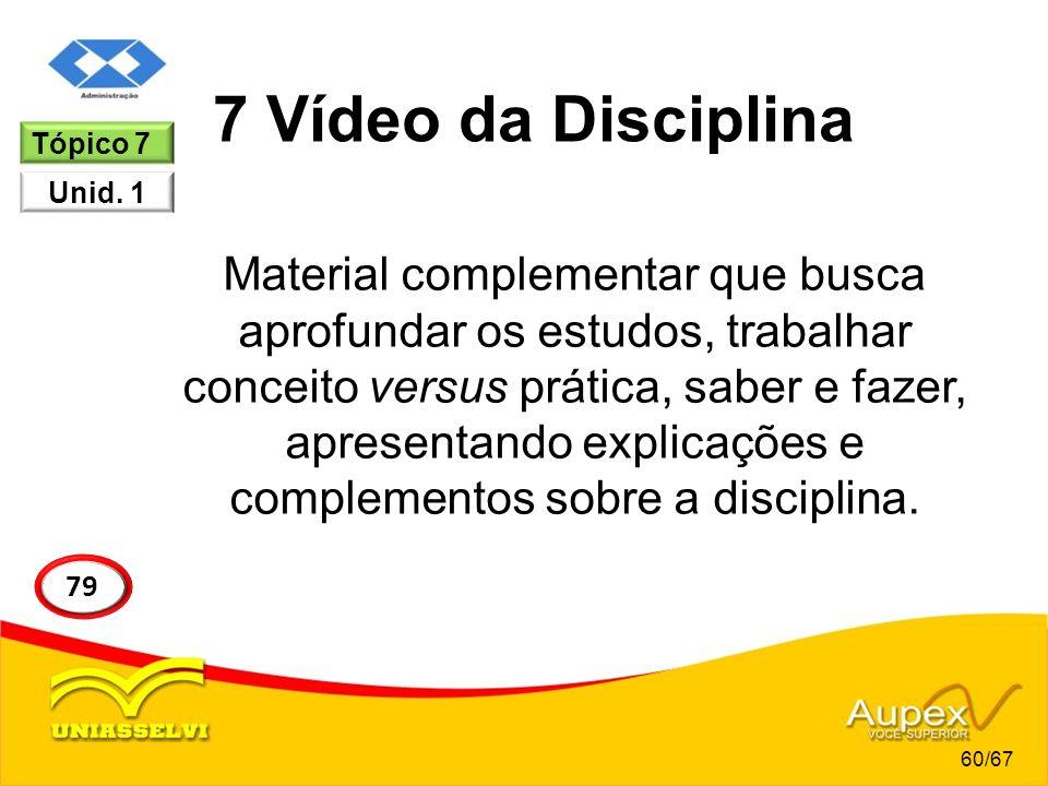 7 Vídeo da Disciplina Material complementar que busca aprofundar os estudos, trabalhar conceito versus prática, saber e fazer, apresentando explicaçõe