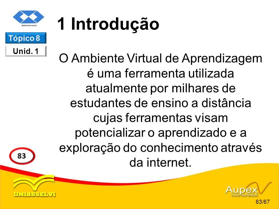 1 Introdução O Ambiente Virtual de Aprendizagem é uma ferramenta utilizada atualmente por milhares de estudantes de ensino a distância cujas ferrament