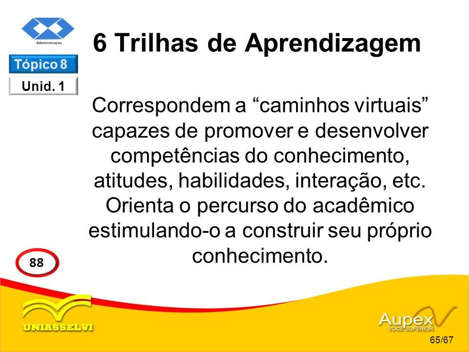 6 Trilhas de Aprendizagem Correspondem a caminhos virtuais capazes de promover e desenvolver competências do conhecimento, atitudes, habilidades, inte
