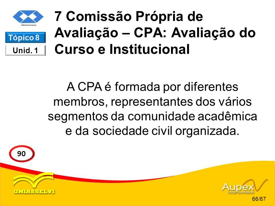 7 Comissão Própria de Avaliação – CPA: Avaliação do Curso e Institucional A CPA é formada por diferentes membros, representantes dos vários segmentos