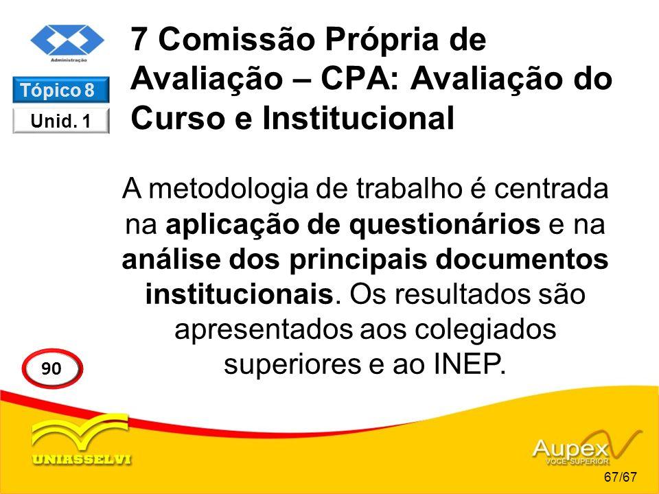 7 Comissão Própria de Avaliação – CPA: Avaliação do Curso e Institucional A metodologia de trabalho é centrada na aplicação de questionários e na anál