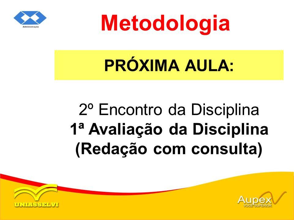 PRÓXIMA AULA: Metodologia 2º Encontro da Disciplina 1ª Avaliação da Disciplina (Redação com consulta)
