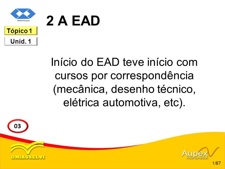 2 A EAD Início do EAD teve início com cursos por correspondência (mecânica, desenho técnico, elétrica automotiva, etc). 1/67 03 Tópico 1 Unid. 1