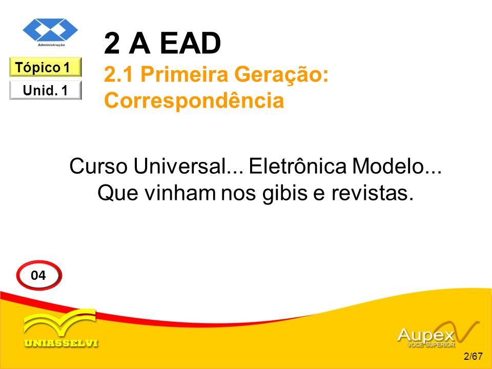 2 A EAD 2.1 Primeira Geração: Correspondência Curso Universal... Eletrônica Modelo... Que vinham nos gibis e revistas. 2/67 04 Tópico 1 Unid. 1
