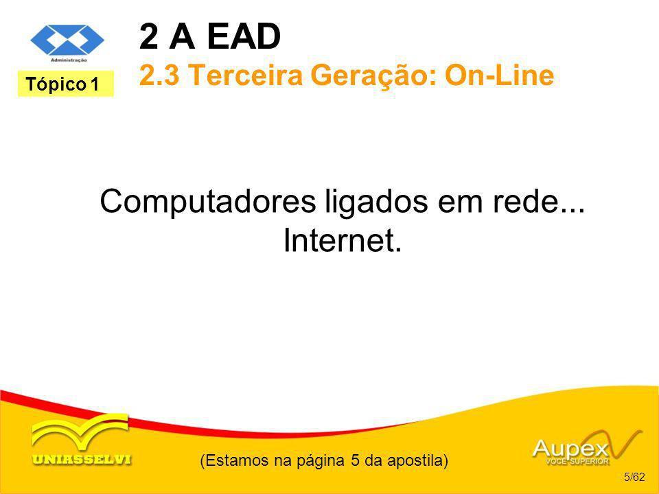 2 A EAD 2.3 Terceira Geração: On-Line Computadores ligados em rede... Internet. (Estamos na página 5 da apostila) 5/62 Tópico 1