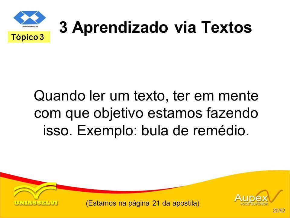 3 Aprendizado via Textos Quando ler um texto, ter em mente com que objetivo estamos fazendo isso. Exemplo: bula de remédio. (Estamos na página 21 da a