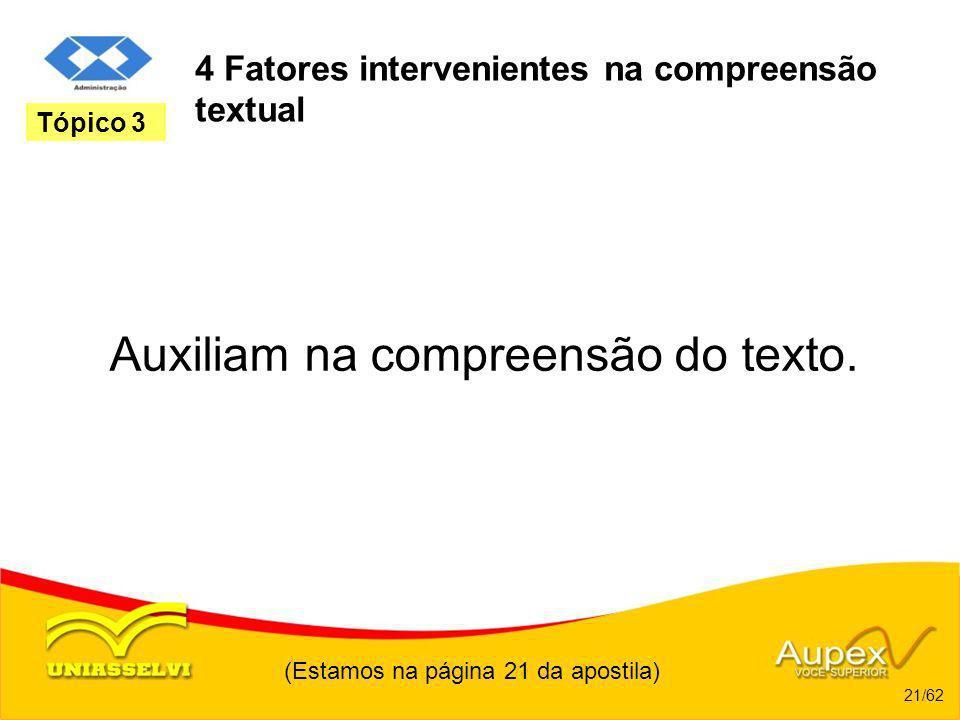 4 Fatores intervenientes na compreensão textual Auxiliam na compreensão do texto. (Estamos na página 21 da apostila) 21/62 Tópico 3