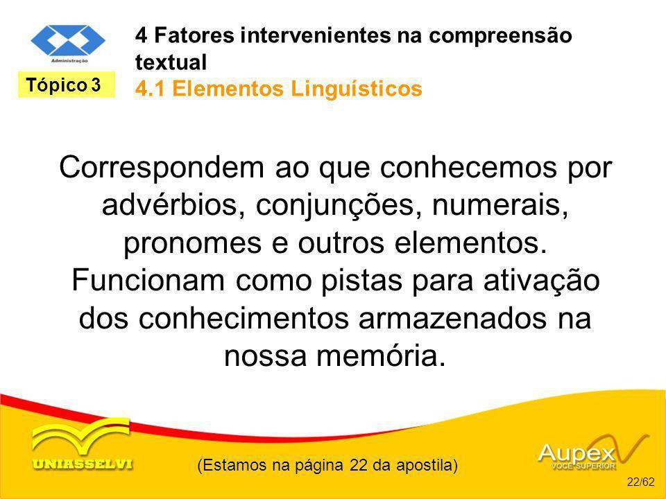 4 Fatores intervenientes na compreensão textual 4.1 Elementos Linguísticos Correspondem ao que conhecemos por advérbios, conjunções, numerais, pronome