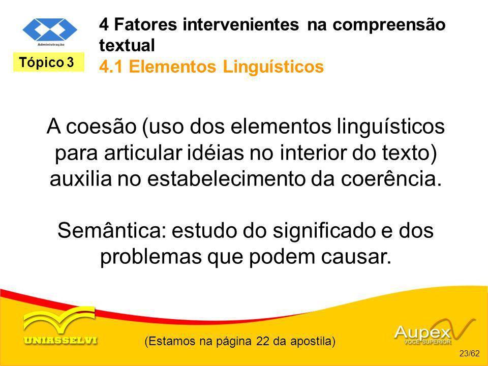 4 Fatores intervenientes na compreensão textual 4.1 Elementos Linguísticos A coesão (uso dos elementos linguísticos para articular idéias no interior
