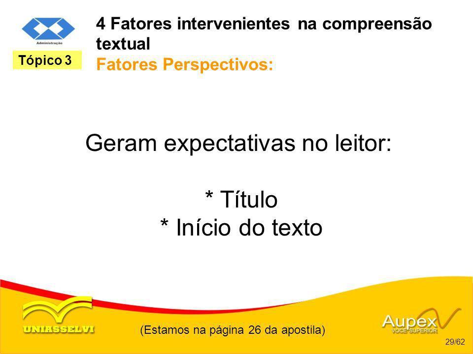 4 Fatores intervenientes na compreensão textual Fatores Perspectivos: Geram expectativas no leitor: * Título * Início do texto (Estamos na página 26 d