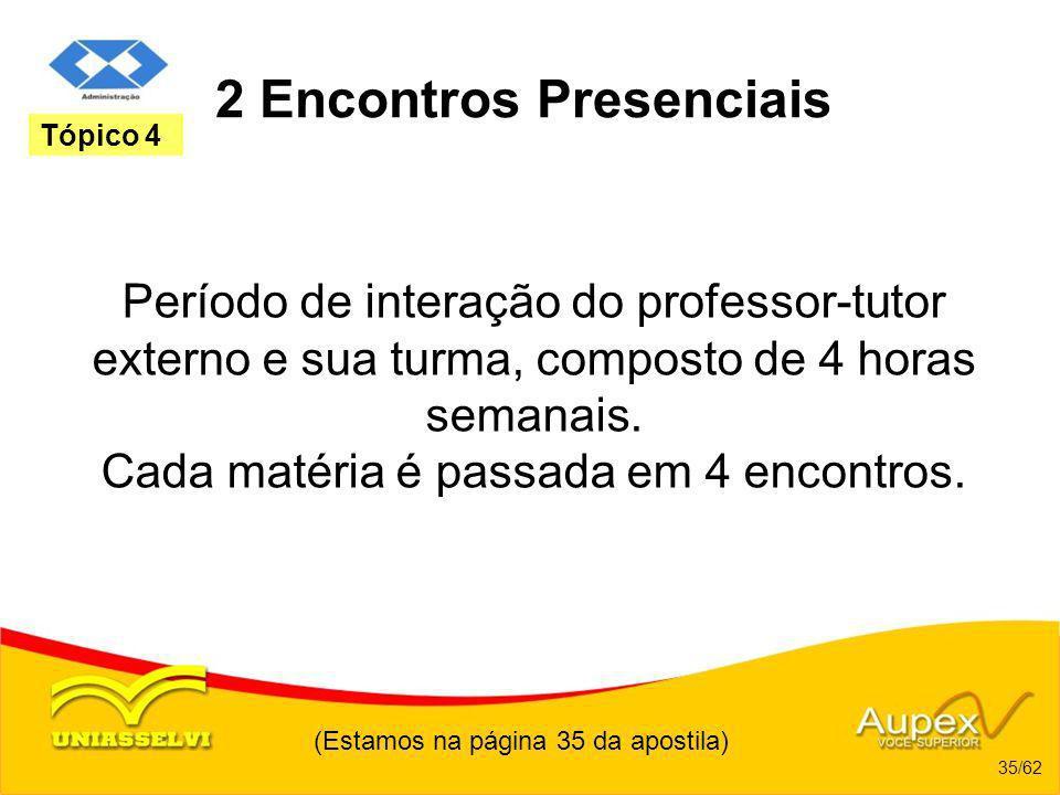 2 Encontros Presenciais Período de interação do professor-tutor externo e sua turma, composto de 4 horas semanais. Cada matéria é passada em 4 encontr