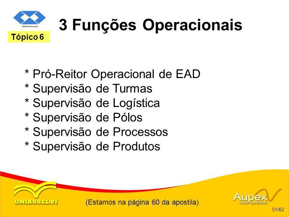 (Estamos na página 60 da apostila) 51/62 Tópico 6 3 Funções Operacionais * Pró-Reitor Operacional de EAD * Supervisão de Turmas * Supervisão de Logíst