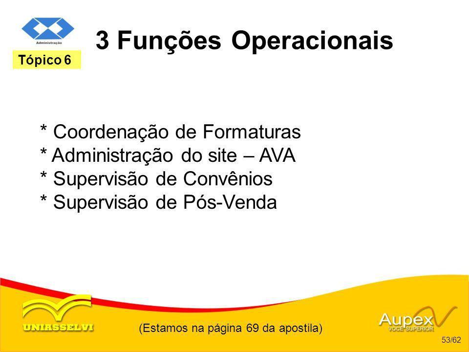 (Estamos na página 69 da apostila) 53/62 Tópico 6 3 Funções Operacionais * Coordenação de Formaturas * Administração do site – AVA * Supervisão de Con