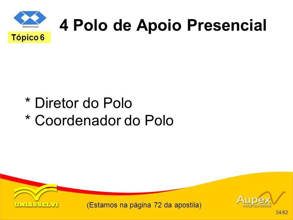 (Estamos na página 72 da apostila) 54/62 Tópico 6 4 Polo de Apoio Presencial * Diretor do Polo * Coordenador do Polo