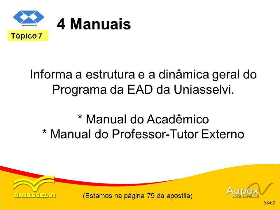 (Estamos na página 79 da apostila) 58/62 Tópico 7 4 Manuais Informa a estrutura e a dinâmica geral do Programa da EAD da Uniasselvi. * Manual do Acadê