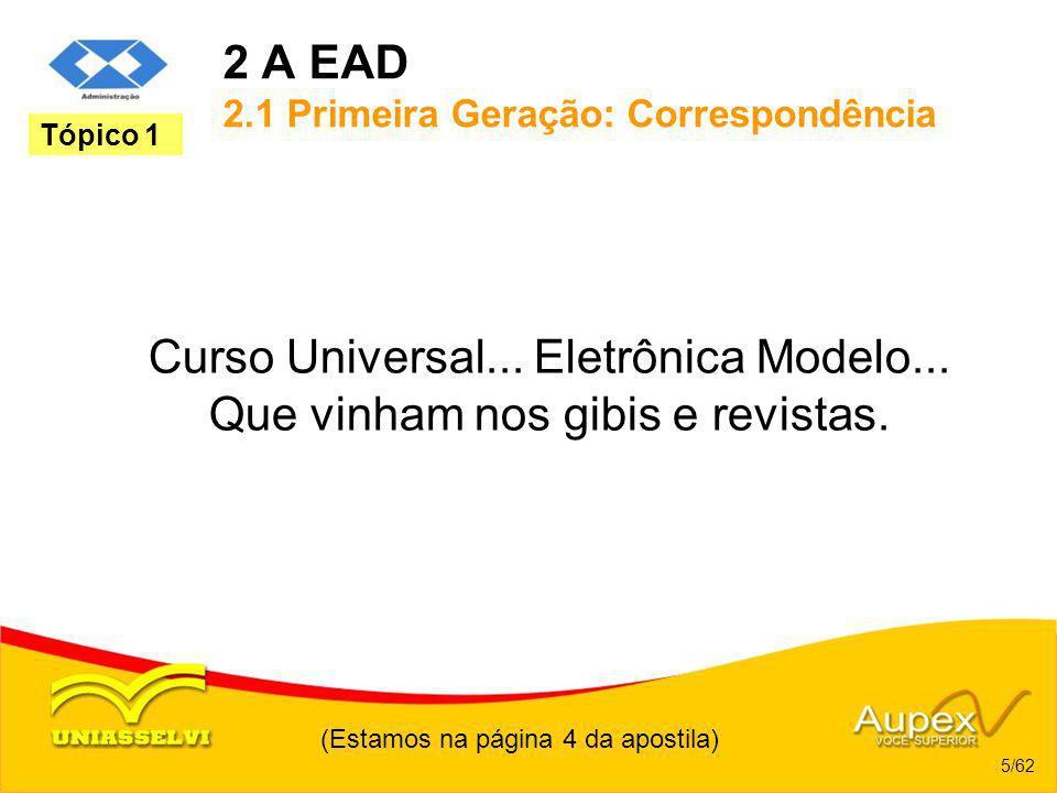 2 A EAD 2.1 Primeira Geração: Correspondência Curso Universal... Eletrônica Modelo... Que vinham nos gibis e revistas. (Estamos na página 4 da apostil