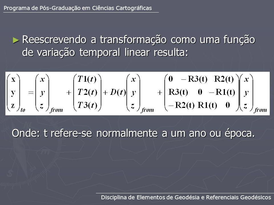 Reescrevendo a transformação como uma função de variação temporal linear resulta: Reescrevendo a transformação como uma função de variação temporal li