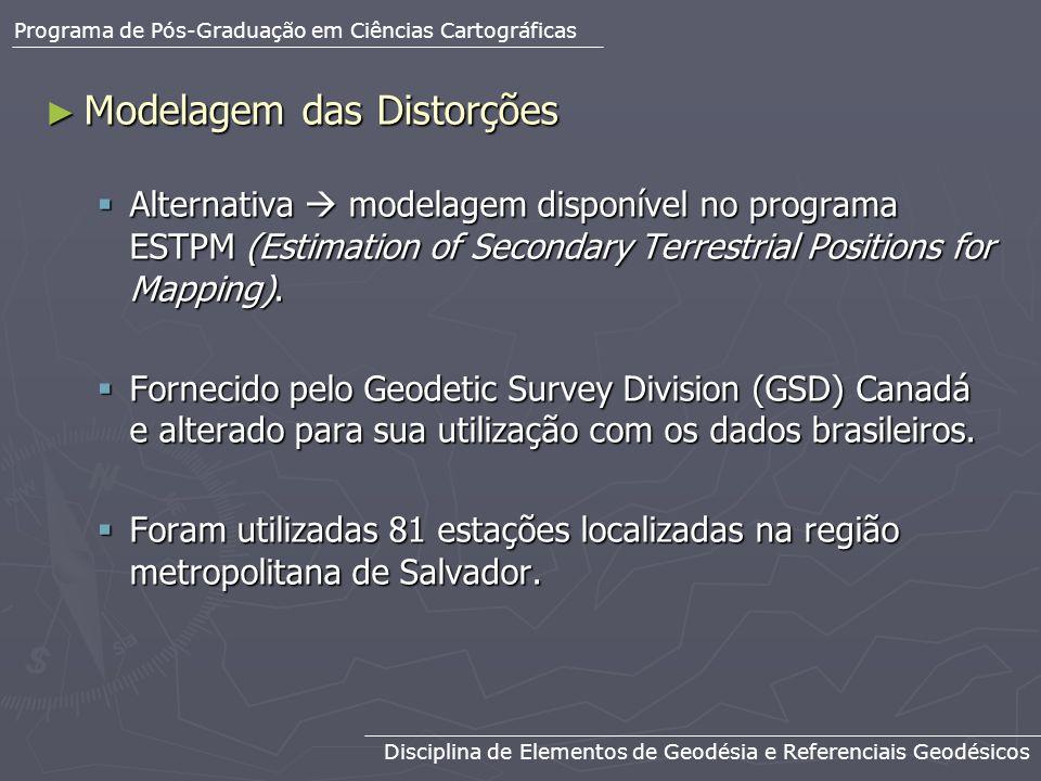 Modelagem das Distorções Modelagem das Distorções Alternativa modelagem disponível no programa ESTPM (Estimation of Secondary Terrestrial Positions fo