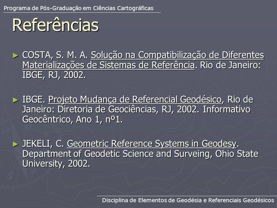 Referências COSTA, S. M. A. Solução na Compatibilização de Diferentes Materializações de Sistemas de Referência. Rio de Janeiro: IBGE, RJ, 2002. COSTA