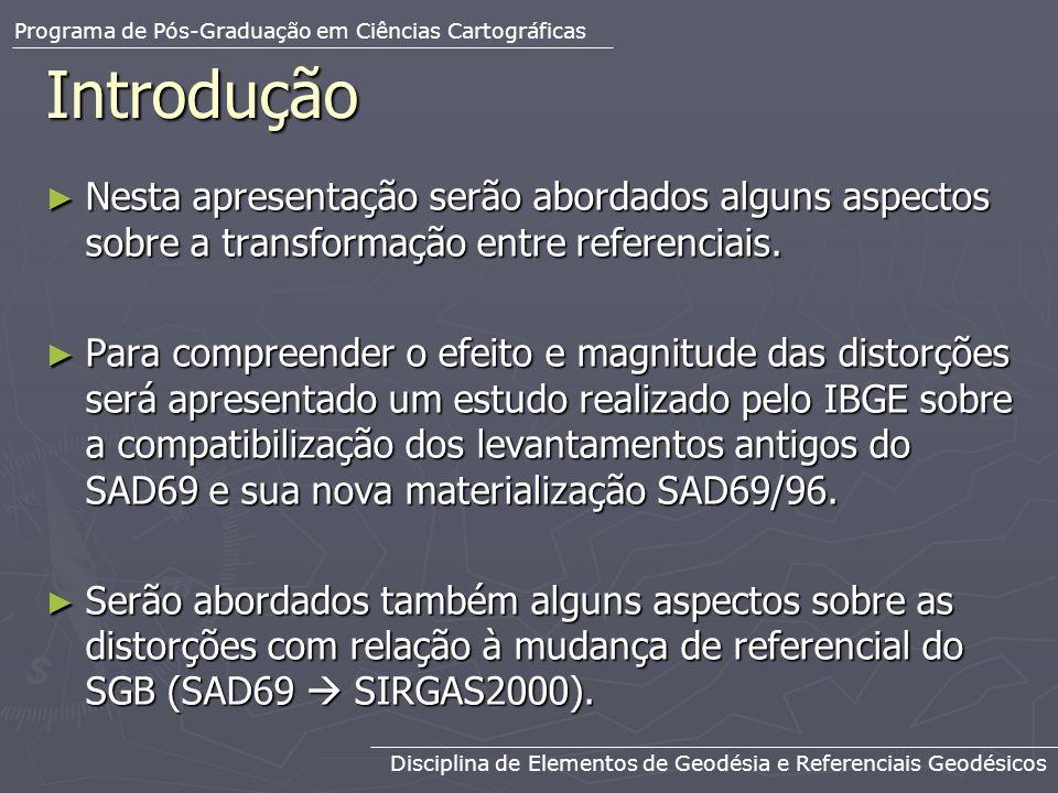 Modelagem das Distorções Modelagem das Distorções Através das coordenadas obtidas em SAD69 e em SAD69/96 foi gerada uma malha de valores de distorções em espaçamento de 1, aplicando-se o método de integração numérica.