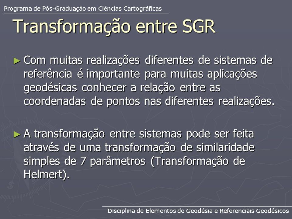 Transformação entre SGR Com muitas realizações diferentes de sistemas de referência é importante para muitas aplicações geodésicas conhecer a relação