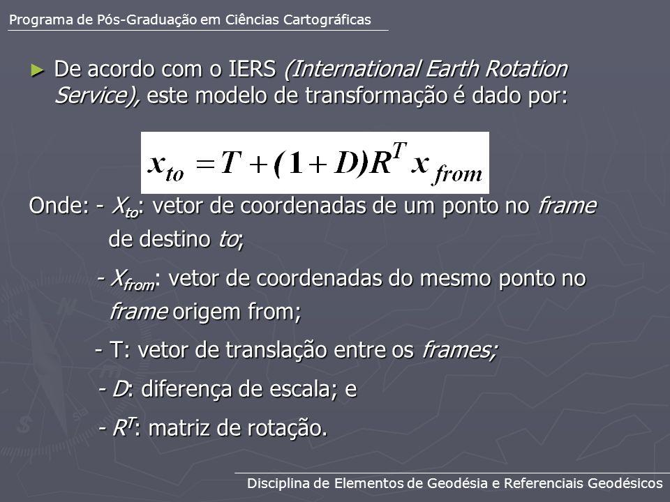 Se os ângulos de rotação forem pequenos, temos que R T é dada por: Se os ângulos de rotação forem pequenos, temos que R T é dada por: Onde: R1, R2 e R3 são pequenos ângulos segundo notação e definição do IERS.