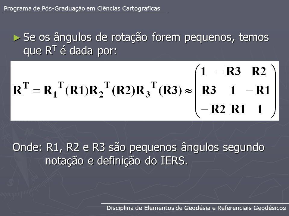 Se os ângulos de rotação forem pequenos, temos que R T é dada por: Se os ângulos de rotação forem pequenos, temos que R T é dada por: Onde: R1, R2 e R