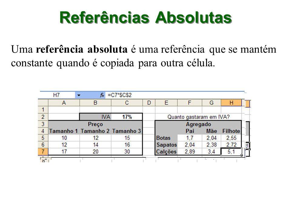 Uma referência absoluta é uma referência que se mantém constante quando é copiada para outra célula. Referências Absolutas
