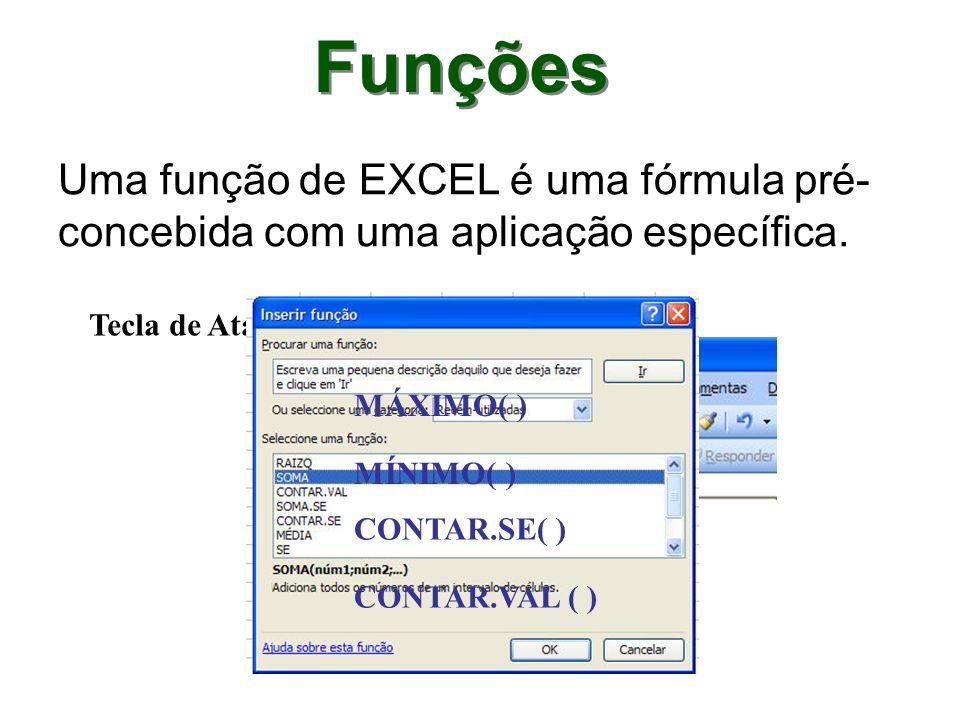 Funções Uma função de EXCEL é uma fórmula pré- concebida com uma aplicação específica. Tecla de Atalho: CONTAR.SE( ) CONTAR.VAL ( ) MÁXIMO( ) MÍNIMO(