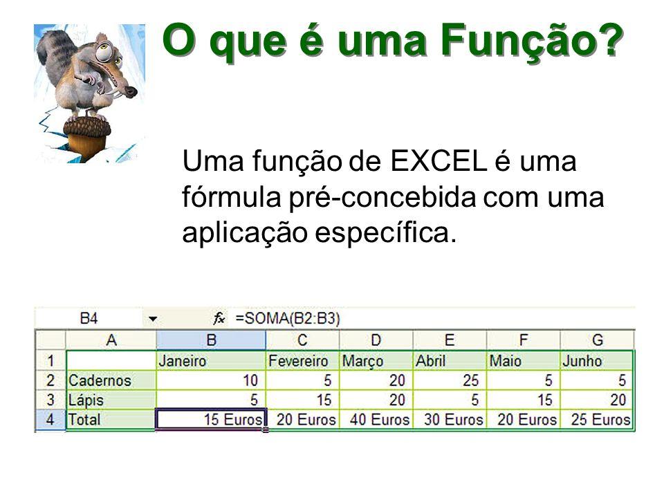O que é uma Função? Uma função de EXCEL é uma fórmula pré-concebida com uma aplicação específica.