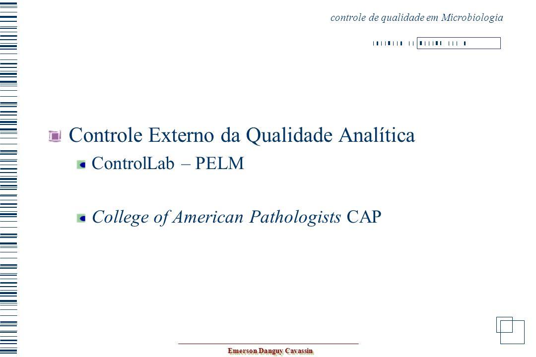 Emerson Danguy Cavassin Controle Externo da Qualidade Analítica ControlLab – PELM College of American Pathologists CAP controle de qualidade em Microb