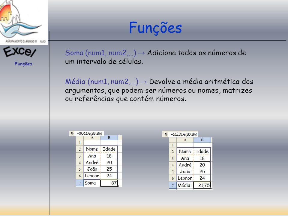 Funções Contar ( Valor1, Valor2,…) Conta o número de células que contêm números e os números contidos numa lista de argumentos.