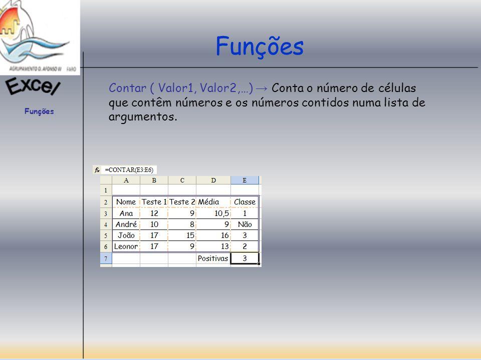 Funções Contar.Val (Valor1, Valor2;…) Conta o número de células não em branco e os valores contidos na lista de argumentos.