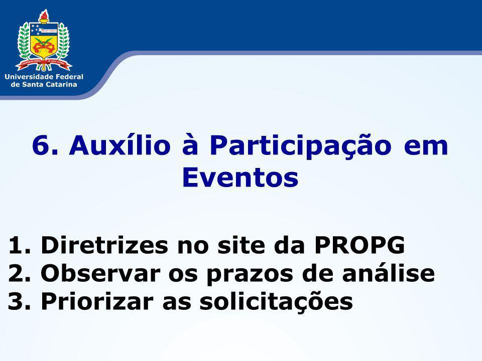 6. Auxílio à Participação em Eventos 1. Diretrizes no site da PROPG 2.